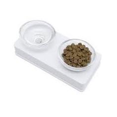 Comedero de Vidrio Elevado - 200 ml c/u. - Blanco